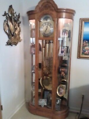 Vintage Howard Miller Majestic Grandfather Clock,And Glass Curio Cabinet
