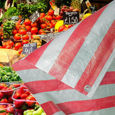Red and White Stripe Heavy Duty Tarpaulin Market Stall Cover Builders Tarp Sheet
