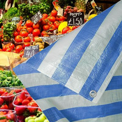 Blue White Stripe Heavy Duty Tarpaulin Market Stall Cover Builders Tarp Sheet