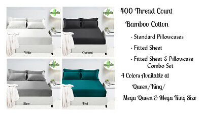 40cm 50cm Wall 400TC Bamboo Cotton Fitted Sheet Pillowcases Queen King Bed Sizes