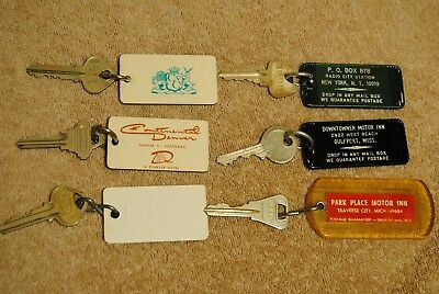 6 Old Hotel Room Key Fob Dinkler Radio City Downtowner Park Place PA CO NY MS MI