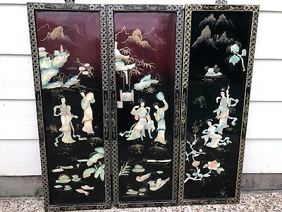 3 Vintage Asian Black Lacquer Mother of Pearl Wall Panels Art Asian Women Geisha