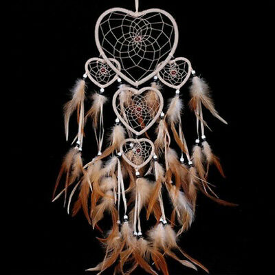 Dream Catcher feathers Wall Hanging Decoration Decor Bead Ornament Brown USStock