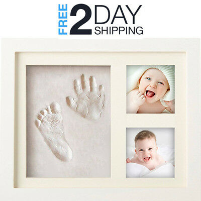 Baby Hand And Footprint Frame Toddlers Handprint Picture Kit Clay Ornament Gift