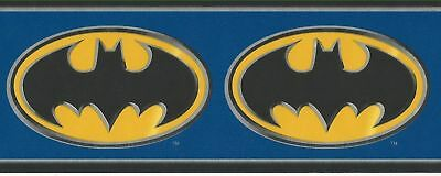 DC Comics Batman Logo on Blue Wallpaper Border BZ9230B