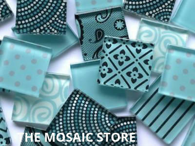 Handmade Aqua Blue Glass Mosaic Tiles - Supplies Art & Craft