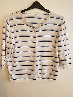Ref 349 - MARKS & SPENCERS - Ladies Womens Girls Striped Cotton Cardigan Size 16