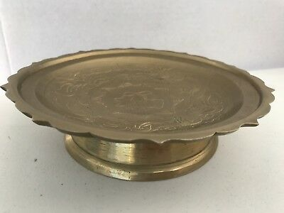 Vintage Chinese Asian Orientel Brass Footed Dragon Lotus Fortune Plate Bowl