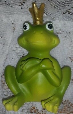 Adorable Charming Kiss Me Frog Prince With Crown Decorative Figurine Decor
