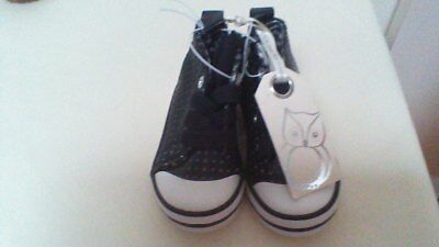 "Toddlers ""Cotton on"" hightop shoe, black laser cut, size 3, NEW with tags"