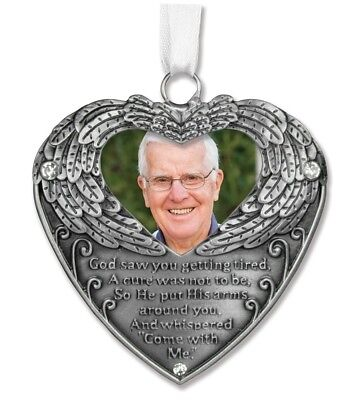 Heart Shaped Photo Ornament with Angel Wings and Touching Poem Gift