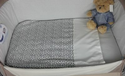 Moses Basket Light Weight Quilt Coverlet Soft Fleece Backed Lining Navy Star