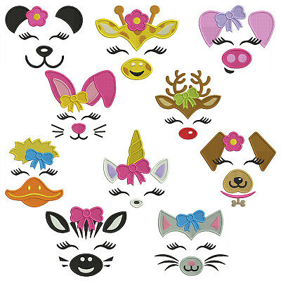 ANIMAL FACES 2 * Machine Embroidery Patterns * 10 Designs in 4 sizes