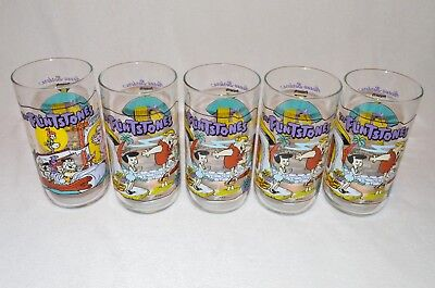 1991 Hardees Set of 5 Collector Glasses The Flintstones: First 30 Years Mint!