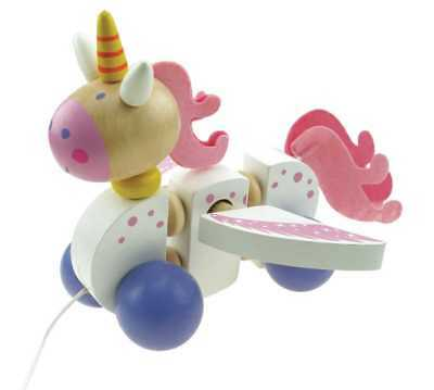 Wooden Pull Along Unicorn   Toy   Toddler Baby   Pink White   Pull-along   BNIP