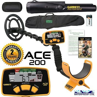 Garrett ACE 200 Metal Detector with DD Waterproof Search Coil and Pro-Pointer AT