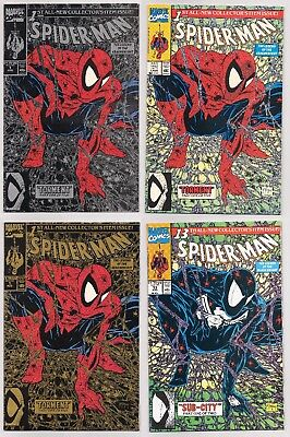 Spider-Man #1 (1990) green, silver and gold editions plus #13 (Black costume)