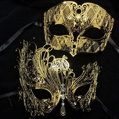 High Quality Metal Lace Laser Cut Masquerade Mask Gold