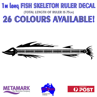 1m FISH SKELETON RULER MEASURE marine grade decal sticker.Boat,half cabin,tinny
