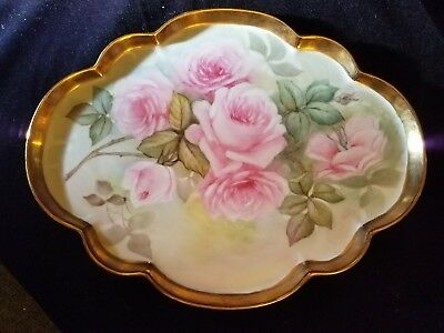 Antique Limoges Large hand-painted tray with roses and heavy gold.