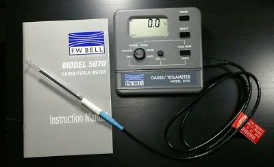 F.W. Bell 5070 Gaussmeter With Probe And Case Tesla Meter Magnetometer Gauss