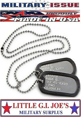 MILITARY ISSUE DOG TAGS Army Navy Marine Air Force 2-TAGS 2-CHAINS 2-SILENCRS