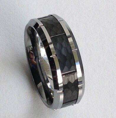 8mm Tungsten Carbide Mens Two Tone Hammered Cut Cuts Wedding Band