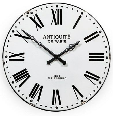 Very Large Antiqued Black and White Enamel Style Wall Clock 109 cm Diameter