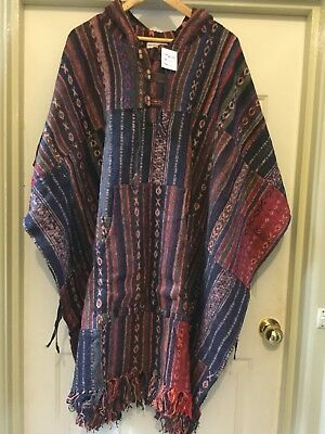 Hippie Boho Festival Camping Unisex Hooded Winter Poncho from Nepal Free Size