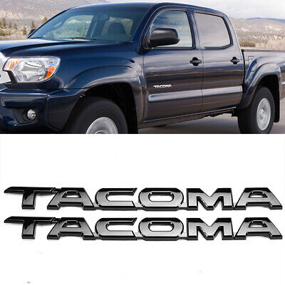 """(Two) 11.75"""" x 1"""" Gloss 3D Black Emblem Decal Badge Sticker Nameplate For Tacoma"""