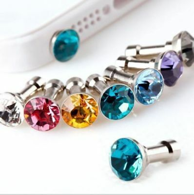 50x Rhinestone Bling Diamond 3.5mm Earphone AUX Port Dust Plug iPhone Samsung S8