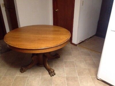 "Antique Oak Claw Foot Round Dining Room Table 29""  Tall 48 Diameter"