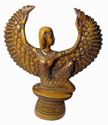 "Egyptian Isis Wings Pharaoh Figurine Statue Ancient Hand Made 7"" Sculpture 201"