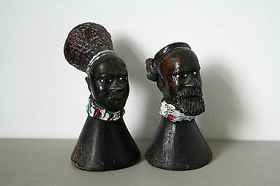 Mid Century African Painted Clay Busts Of Man & Woman