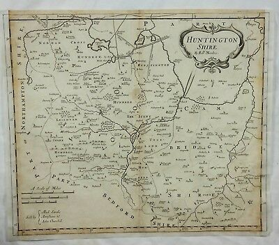 Original Engraved Map of Great Britain - HUNTINGTONSHIRE - by Morden in 1695