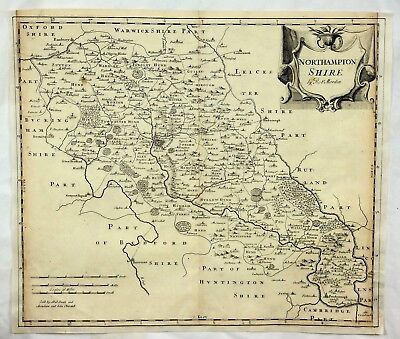 Original Engraved Map of Great Britain - NORTHAMPTONSHIRE - by Morden in 1695