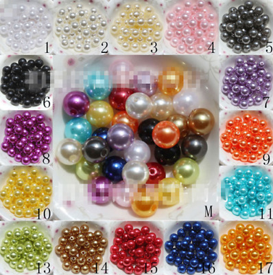 100Pcs 8mm Acrylic Round Pearl Spacer Loose Beads DIY Jewelry 14 Colors
