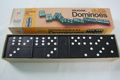 VTG Double Six Wooden Dragon Dominoes + Rules of Play #4130 Milton Bradley USA