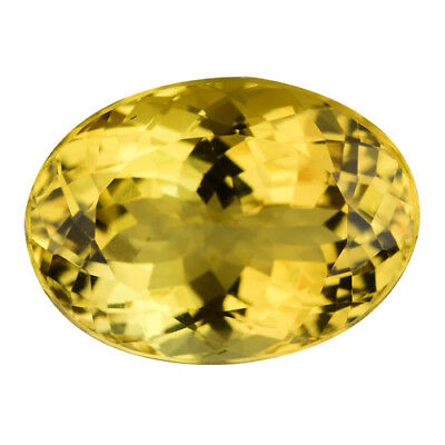 GIL CERTIFIED 12.67Cts LUXURIOUS STUNNING YELLOW BERYL (HELIODOR) OVAL SEE VIDEO