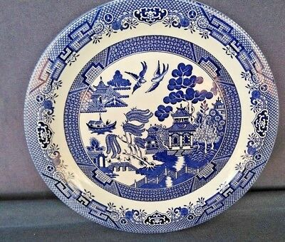 "VINTAGE CHURCHILL ENGLAND BLUE WILLOW LARGE ROUND PLATTER ~ 12 3/4"" Diameter"