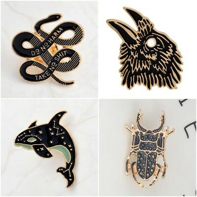 Gothic Pin Badge Snake Crow Black Bird Magic Witch Craft Whale Tarot Ouija Punk