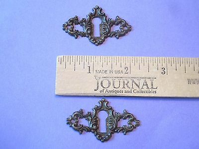 (2) SOLID - BRASS pierced KEYHOLE COVER antique VICTORIAN ornate FANCY DESIGN