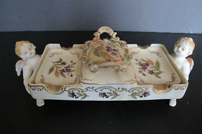 Rare Vintage Pastel Putti/Cherub Rose Bud Porcelain Tray w/ Match Box & Ashtrays