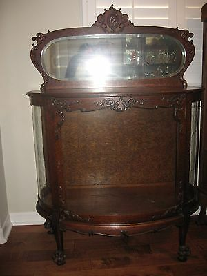 Antique Carved Oak Victorian Curved Glass Doll Display Cabinet  C1890