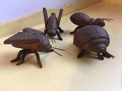 FOUR Metal Iron INSECT Bug Doorstop PAPER WEIGHT Statues FiGURINES Figures