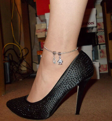 9 inch Unique Silver Euro slider Anklet - Queen of Spades, HW, Hotwife