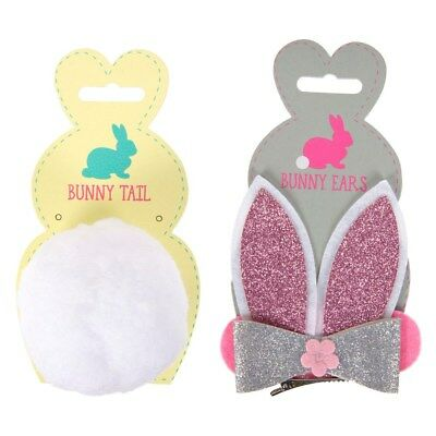 Girls Easter Bunny Set Clip On Accessories Bunny Ears,Tail Fancy Dress Costume