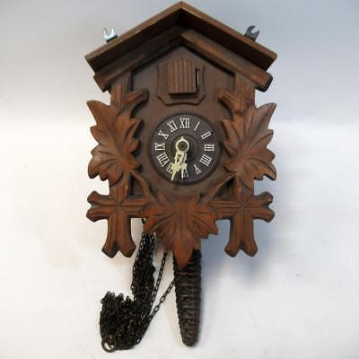 Vintage Small Wooden Woodland Cuckoo Clock - Spare or Repair - Missing Parts