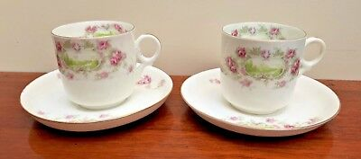 GORGEOUS Royal Tuscan Pair Cups & Saucers Pink Roses Country House Cartouche