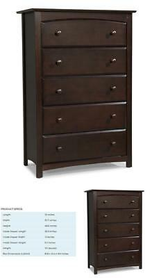 Mens Dresser For Men Tall 5 Drawer Dressers Bedroom Storage Cabinet Espresso New